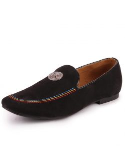 Fausto Men's Suede Leather Slip Ons / Moccasins Black Slip On